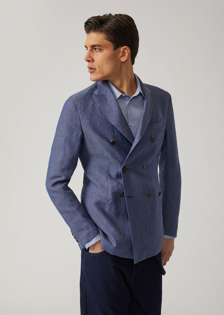 013af88073 Double-breasted linen chambray jacket | Man | Emporio Armani