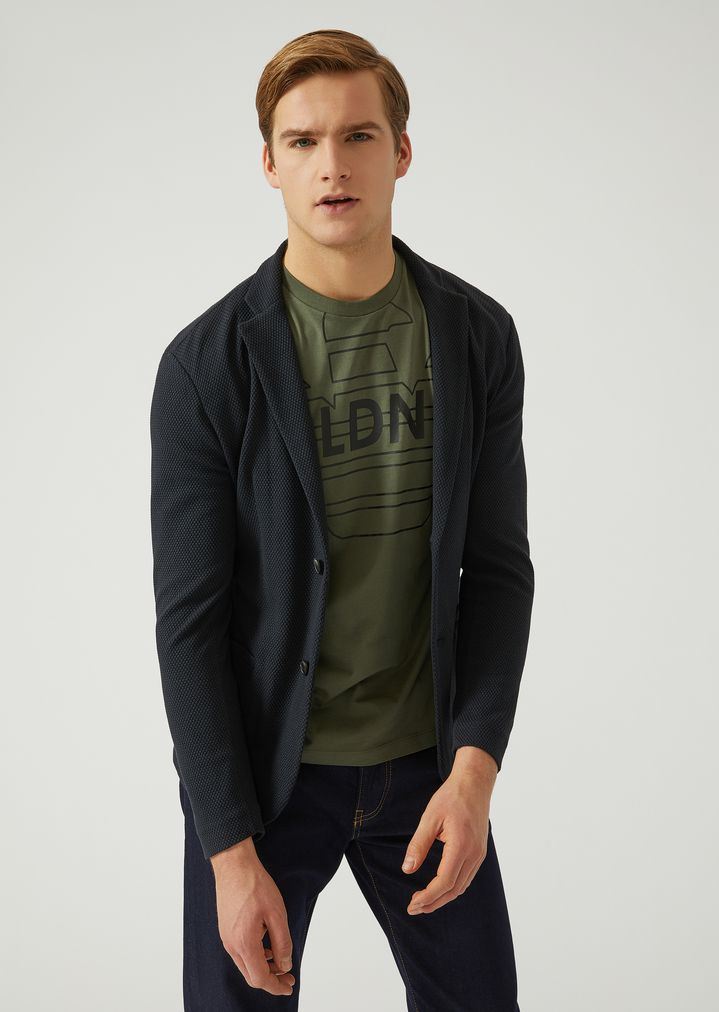 f199cc817d UNLINED JACKET IN STRETCH JERSEY   Man   Emporio Armani