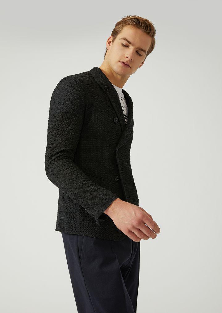 72fb8322ba Double-breasted geometric embossed jacket | Man | Emporio Armani