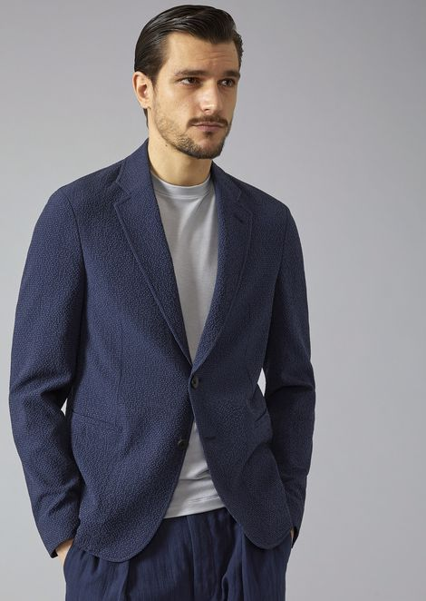 Soft jacket in seersucker