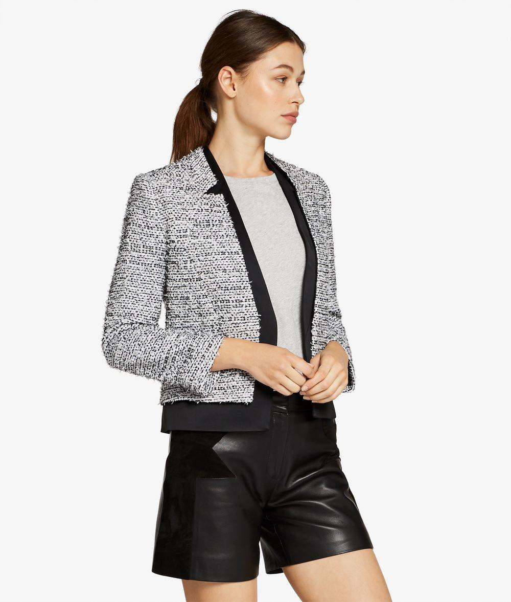 KARL LAGERFELD Bouclé & Satin Blazer Jacket Woman f