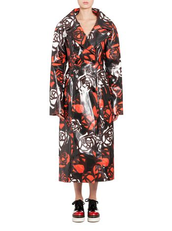 Marni Flower duster coat in leather Roma print Woman