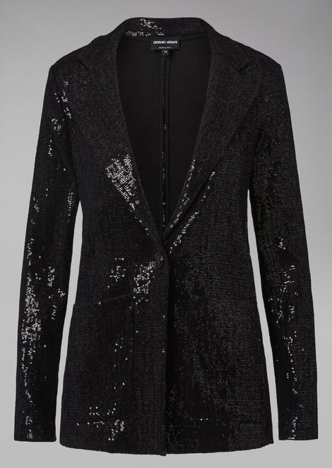 Embroidered sequin cocktail jacket