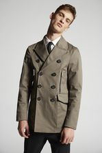 DSQUARED2 Stretch Twill Cotton Peacoat Full-length jacket Man