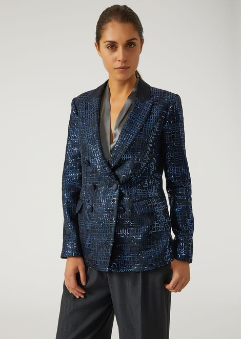 Double-breasted jacket with embroidered mesh-effect sequin detailing