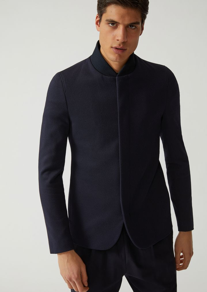 8cf1eb3613 SINGLE-BREASTED JACKET IN JACQUARD JERSEY | Man | Emporio Armani