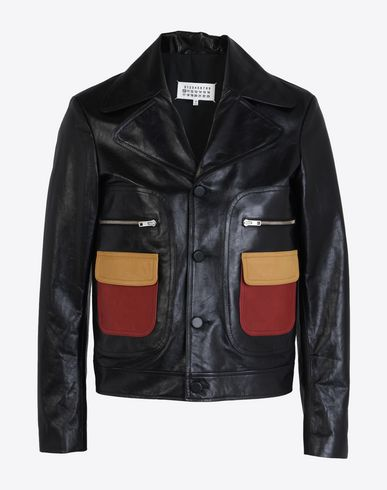 MAISON MARGIELA Leather jacket with contrasting pockets Leather Jacket U f