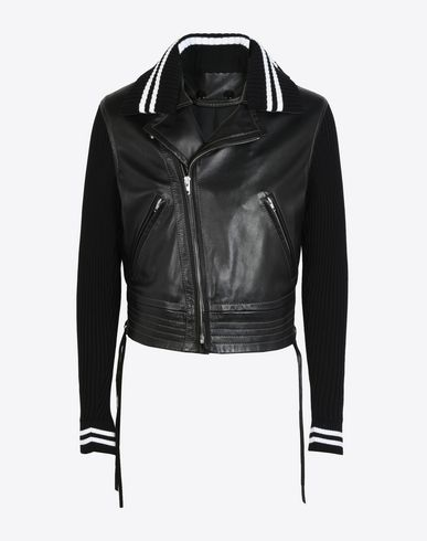 MAISON MARGIELA Leather Jacket U Leather jacket with knit sleeves f