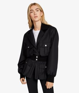 KARL LAGERFELD LONG RIB DETAIL JACKET
