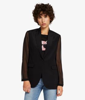 KARL LAGERFELD SHEER & SOLID SILK BLAZER