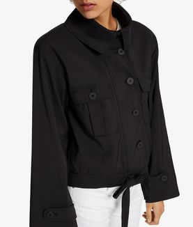 KARL LAGERFELD CROPPED PLACKET DETAIL JACKET
