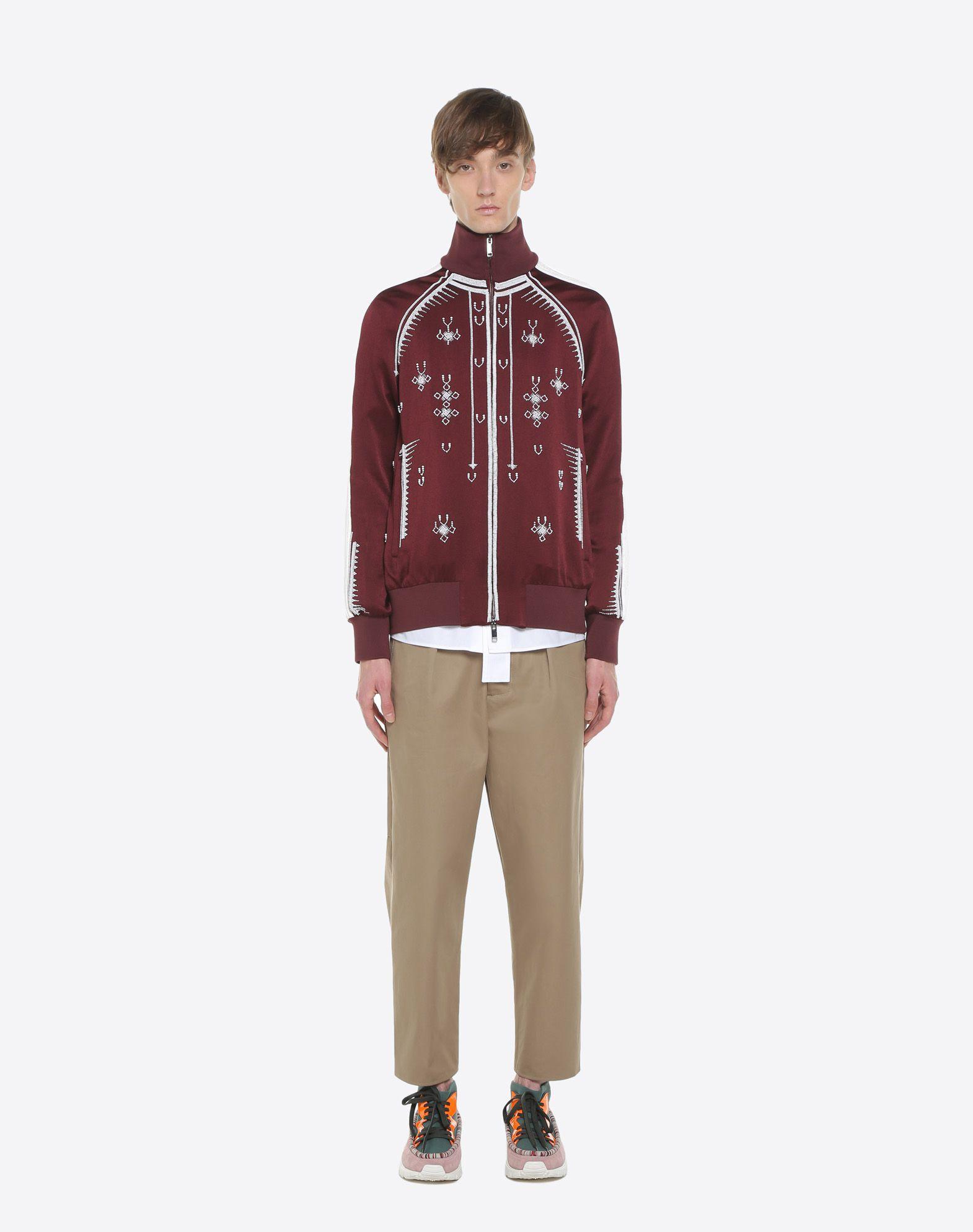 VALENTINO UOMO Sweatshirt with geometric embroidery JACKET U r