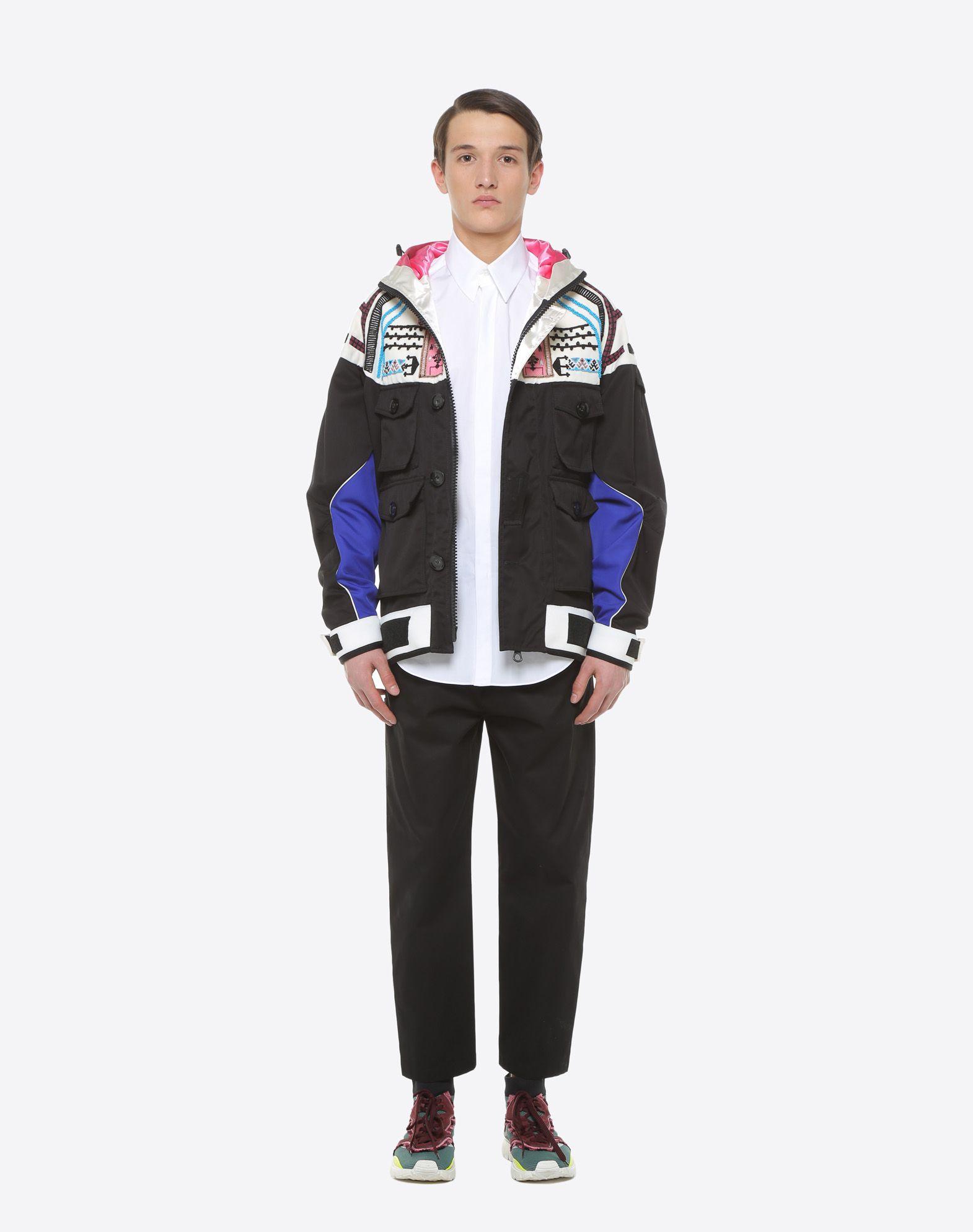 VALENTINO UOMO Casual jacket with geometric embroidery PEA COAT U r