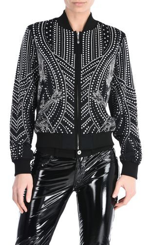 JUST CAVALLI Denim Jacket Woman Chain Reaction print Jacket  f