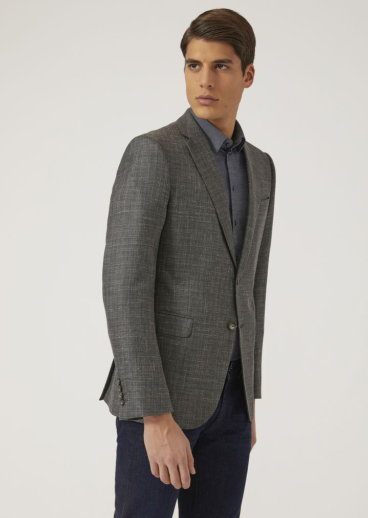 30f33caa29 Jacket in silk, linen and wool blend | Man | Emporio Armani