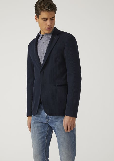 Jacket in woven cotton jersey