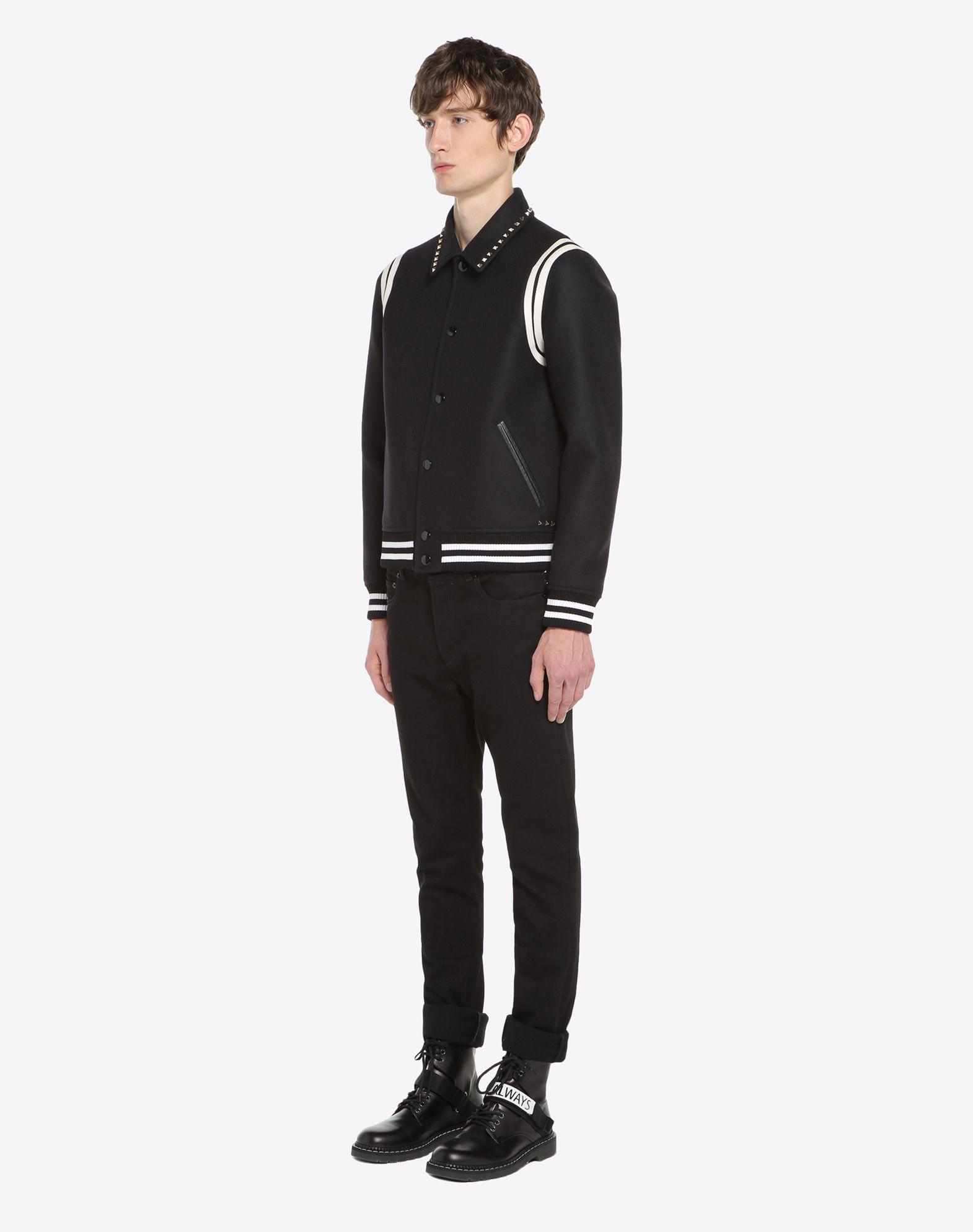 VALENTINO Rockstud Untitled Varsity Jacket JACKET U d