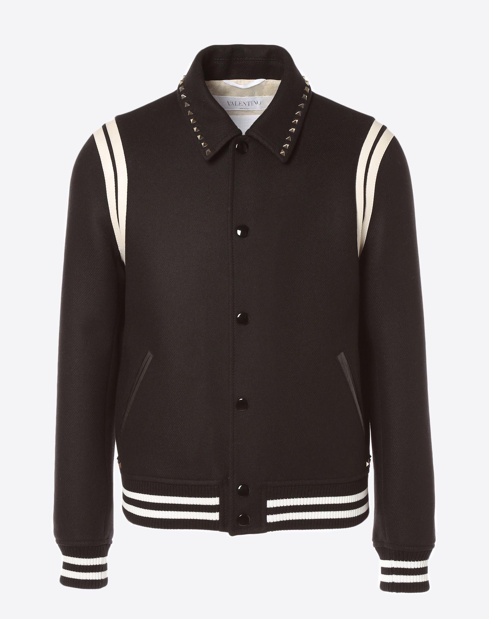 VALENTINO Rockstud Untitled Varsity Jacket JACKET U f