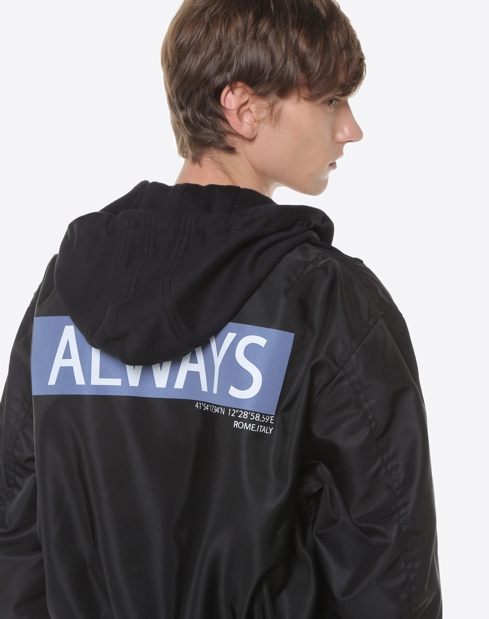 VALENTINO Hooded bomber with Always lettering JACKET U a