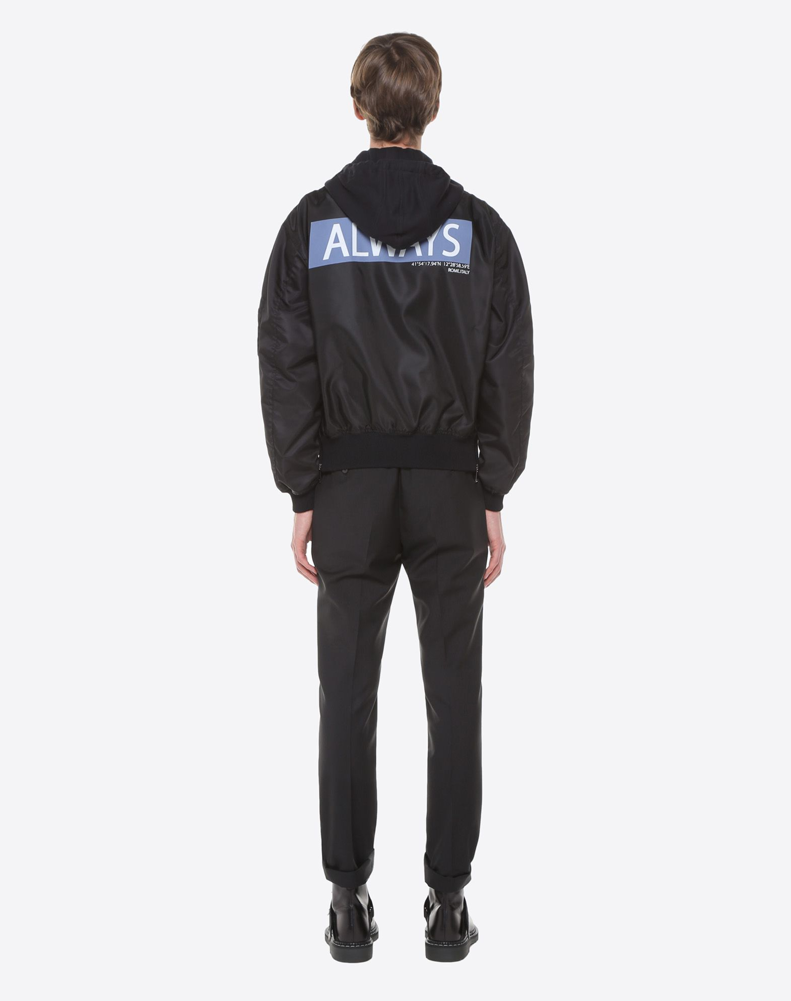 VALENTINO Hooded bomber with Always lettering JACKET U e