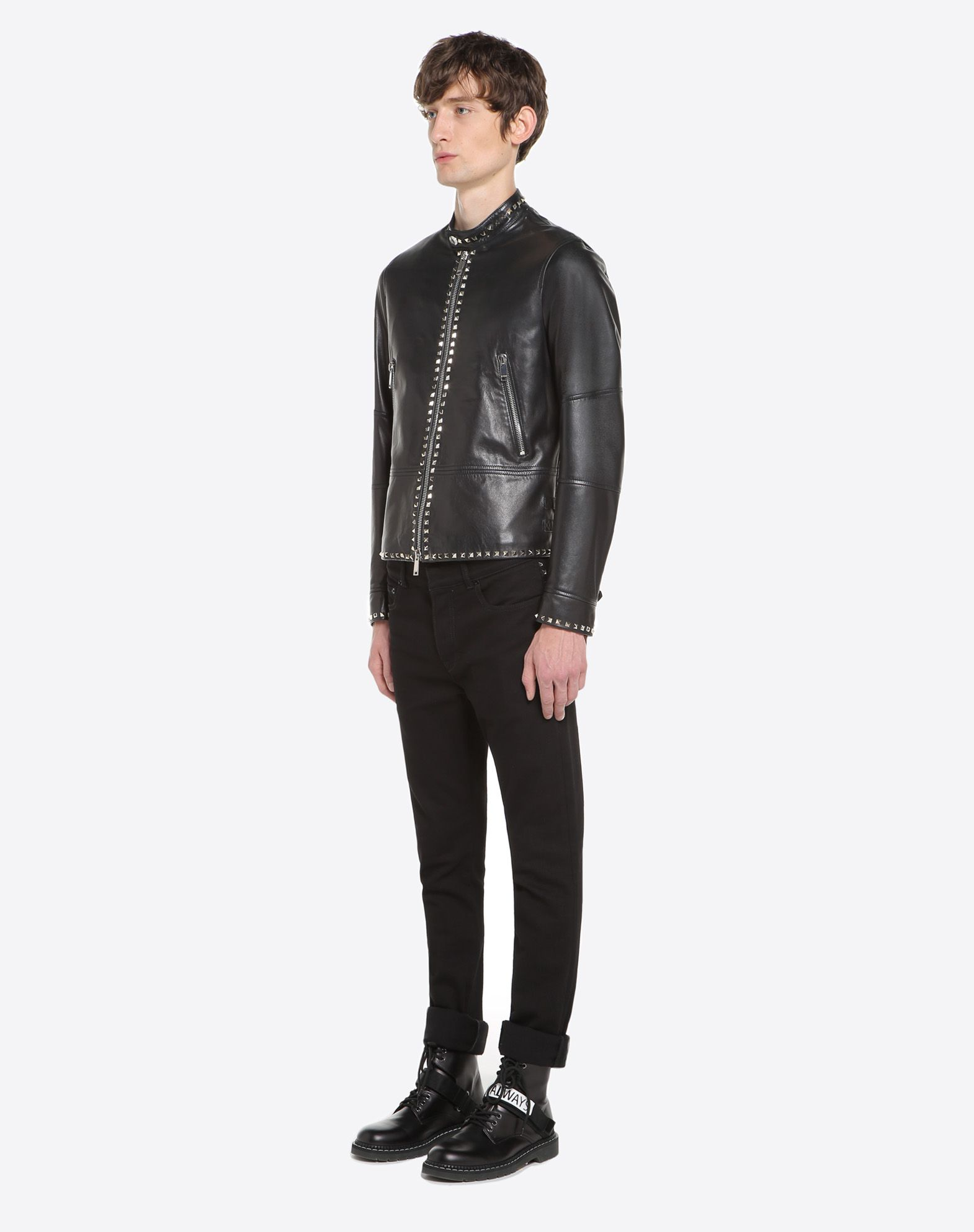 VALENTINO Rockstud Untitled leather biker jacket JACKET U d