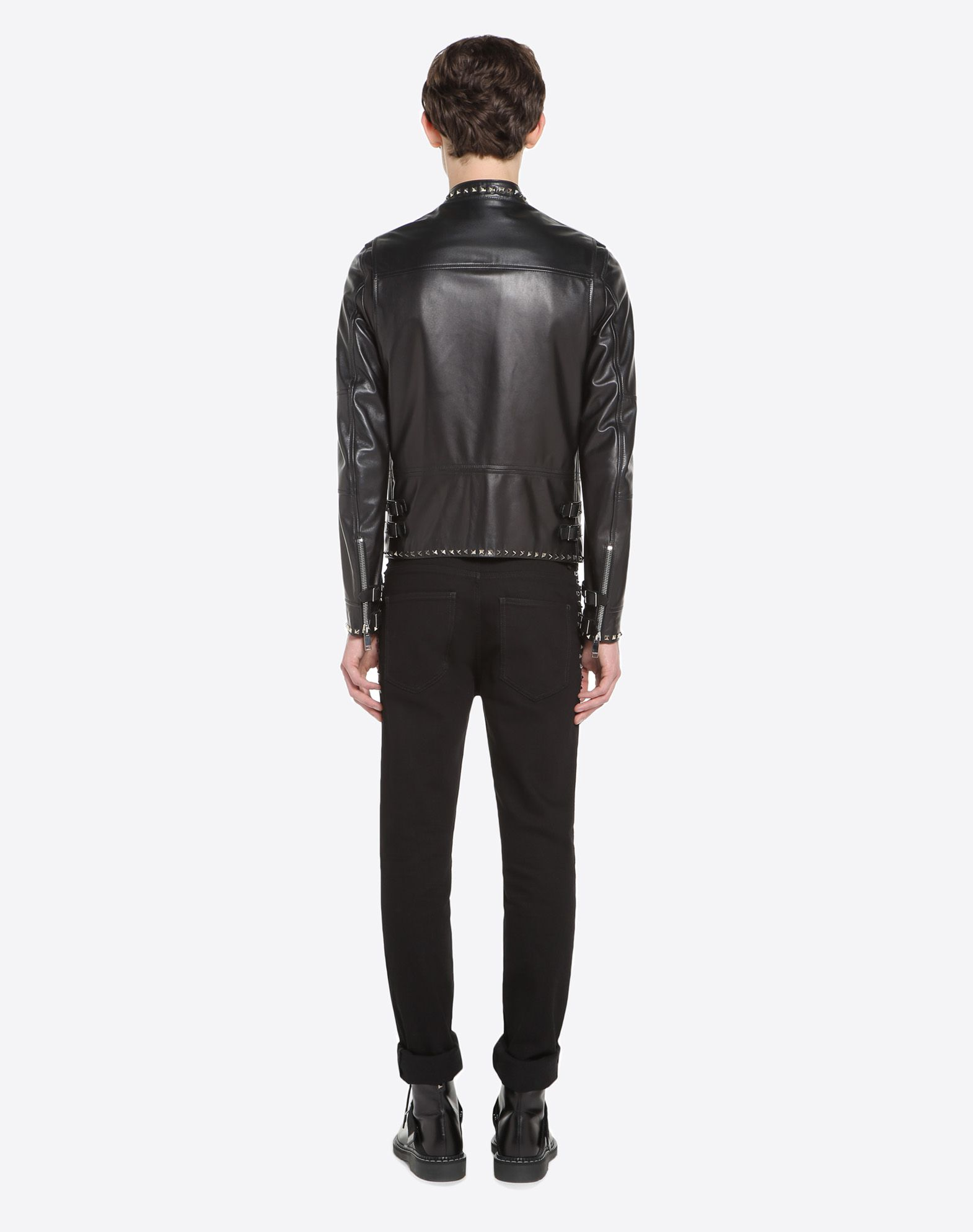 VALENTINO Rockstud Untitled leather biker jacket JACKET U e