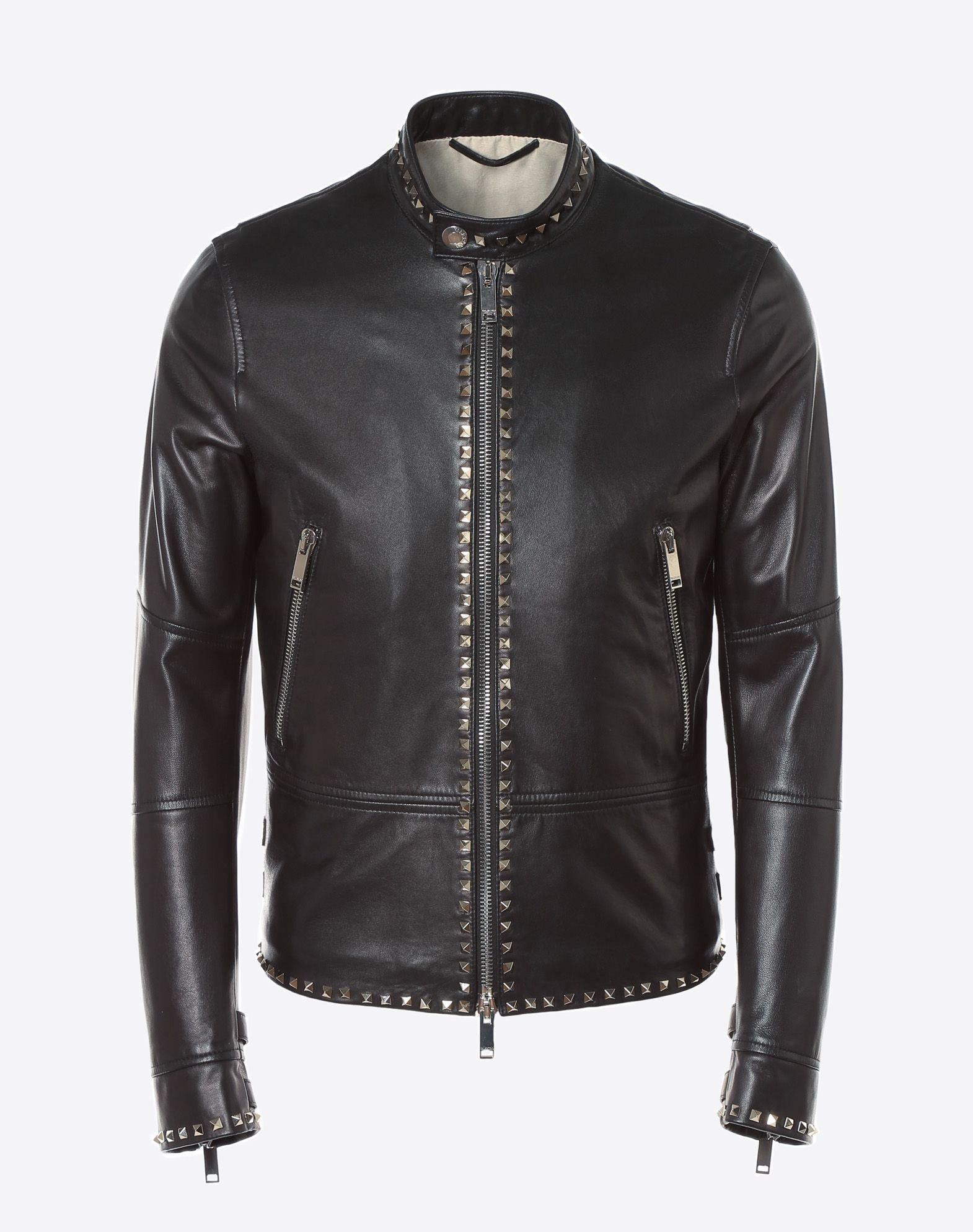 VALENTINO Rockstud Untitled leather biker jacket JACKET U f