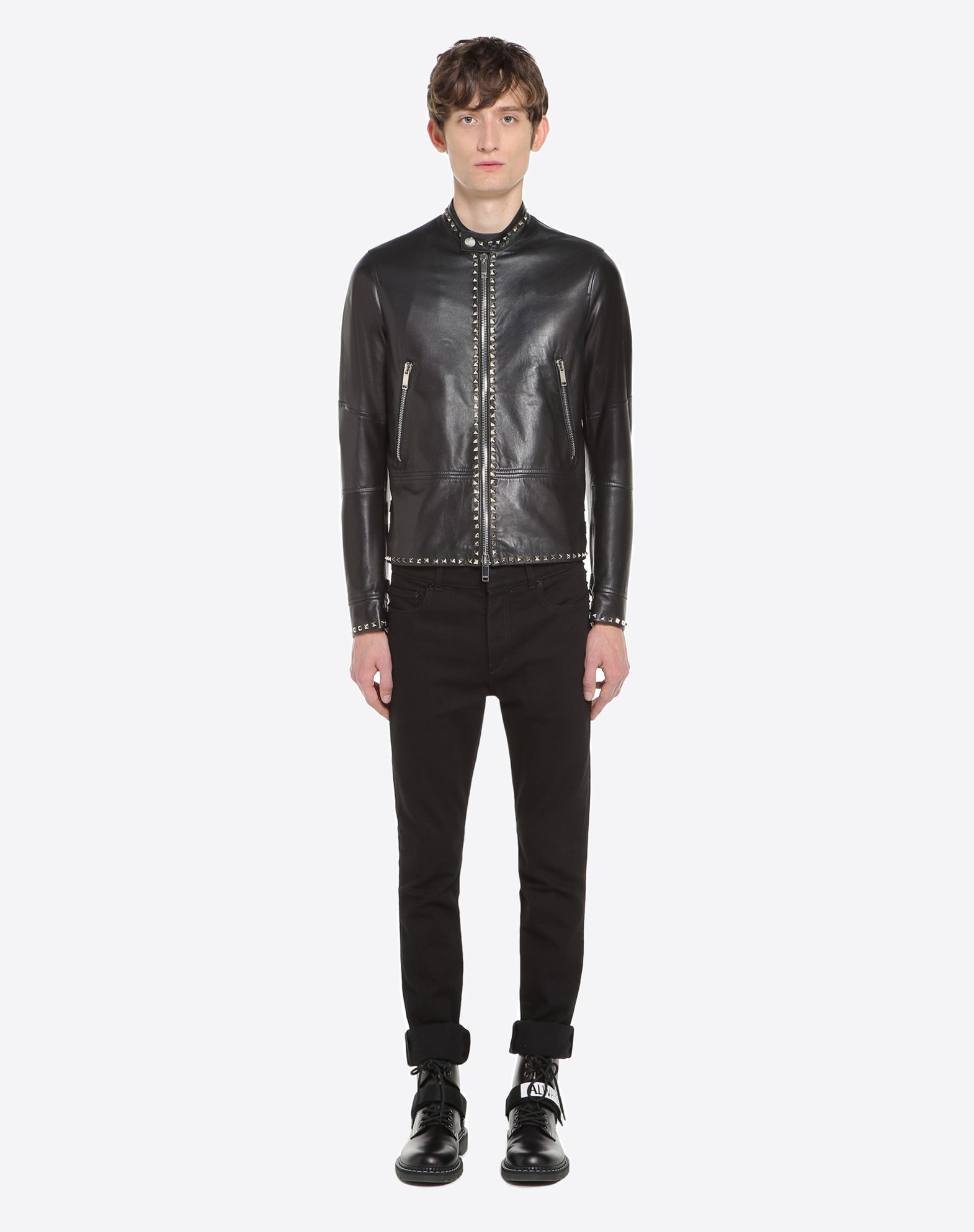 VALENTINO Rockstud Untitled leather biker jacket JACKET U r