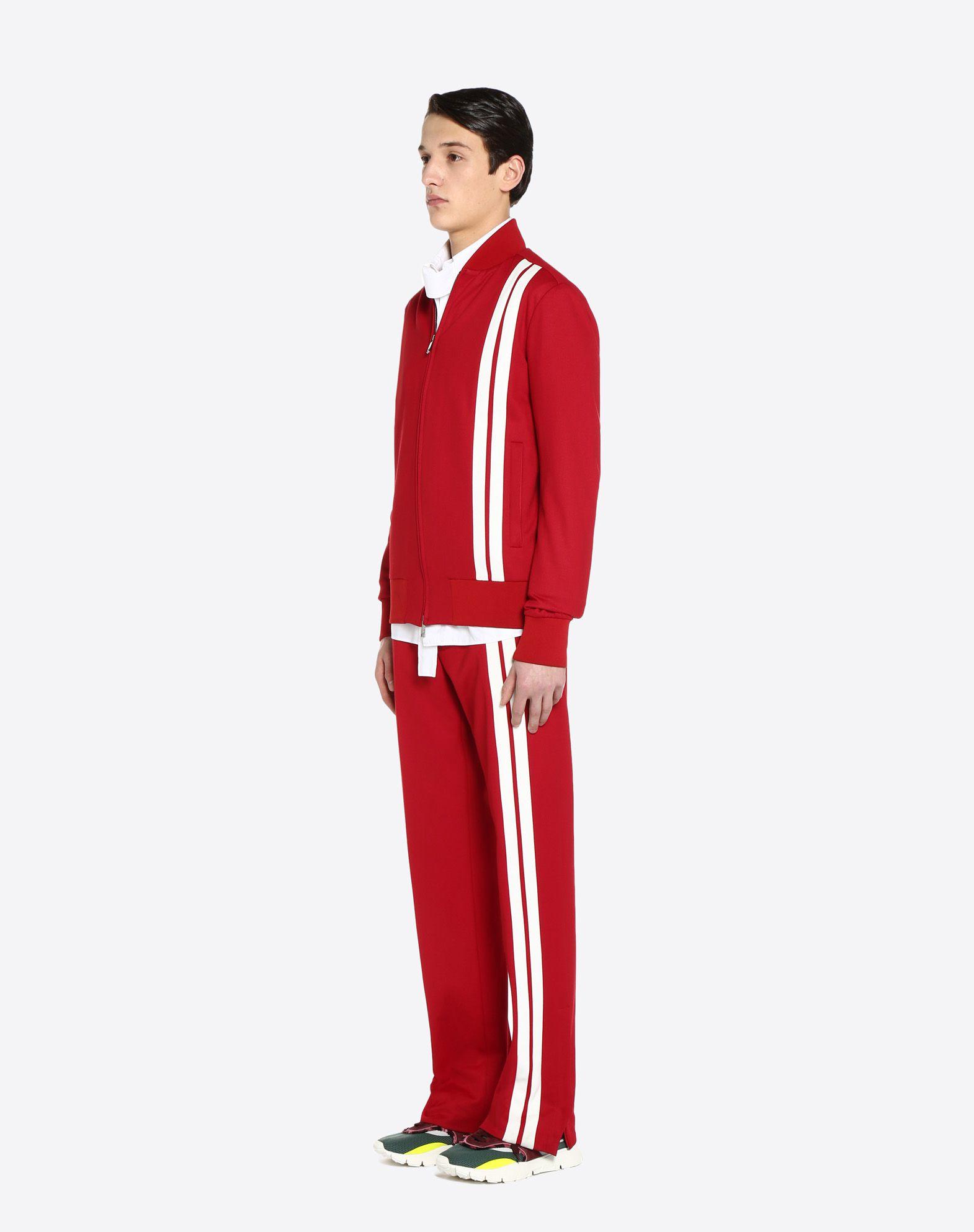 VALENTINO Vertical stripe inlays sweatshirt with VLTN logo JACKET U d