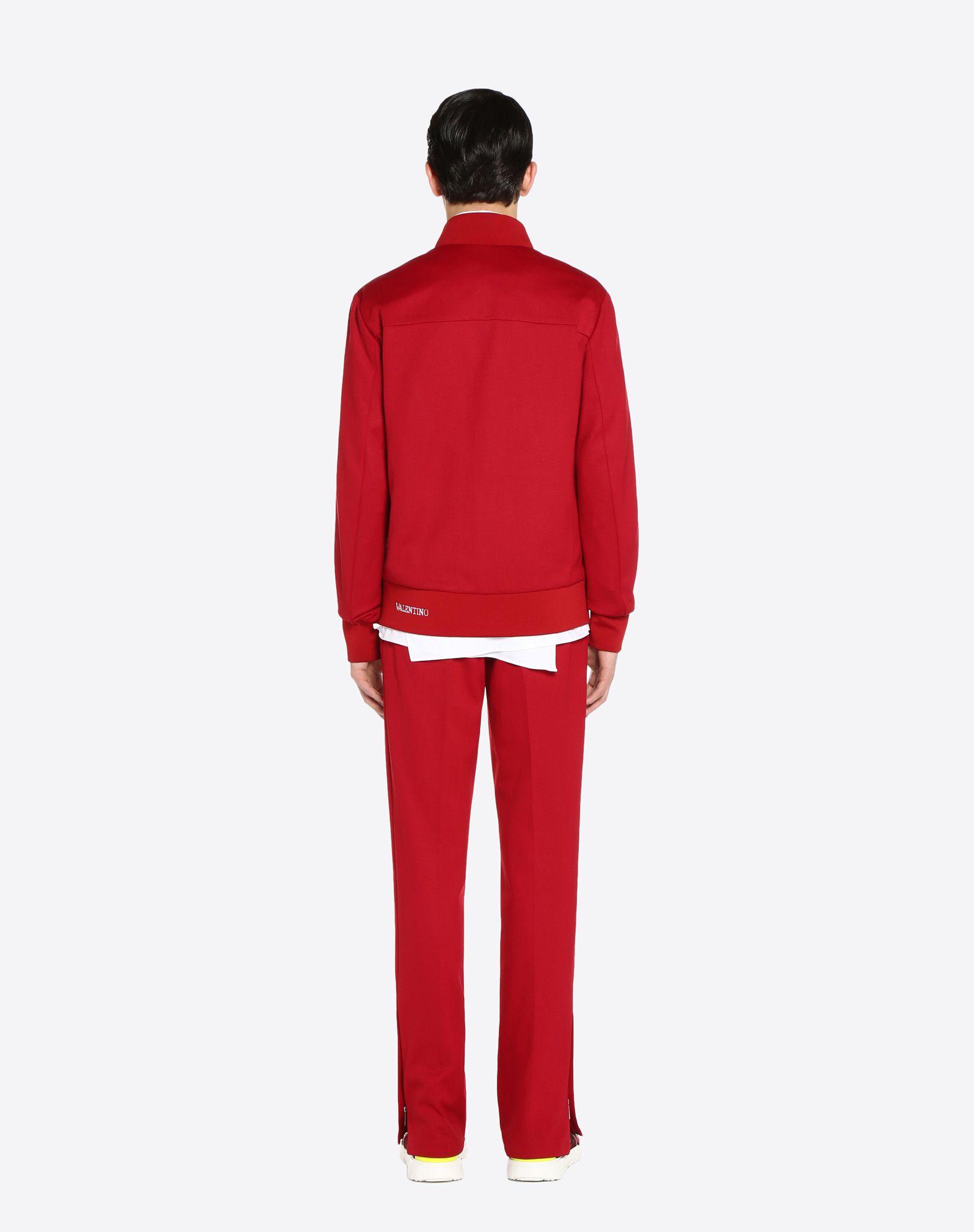 VALENTINO Vertical stripe inlays sweatshirt with VLTN logo JACKET U e