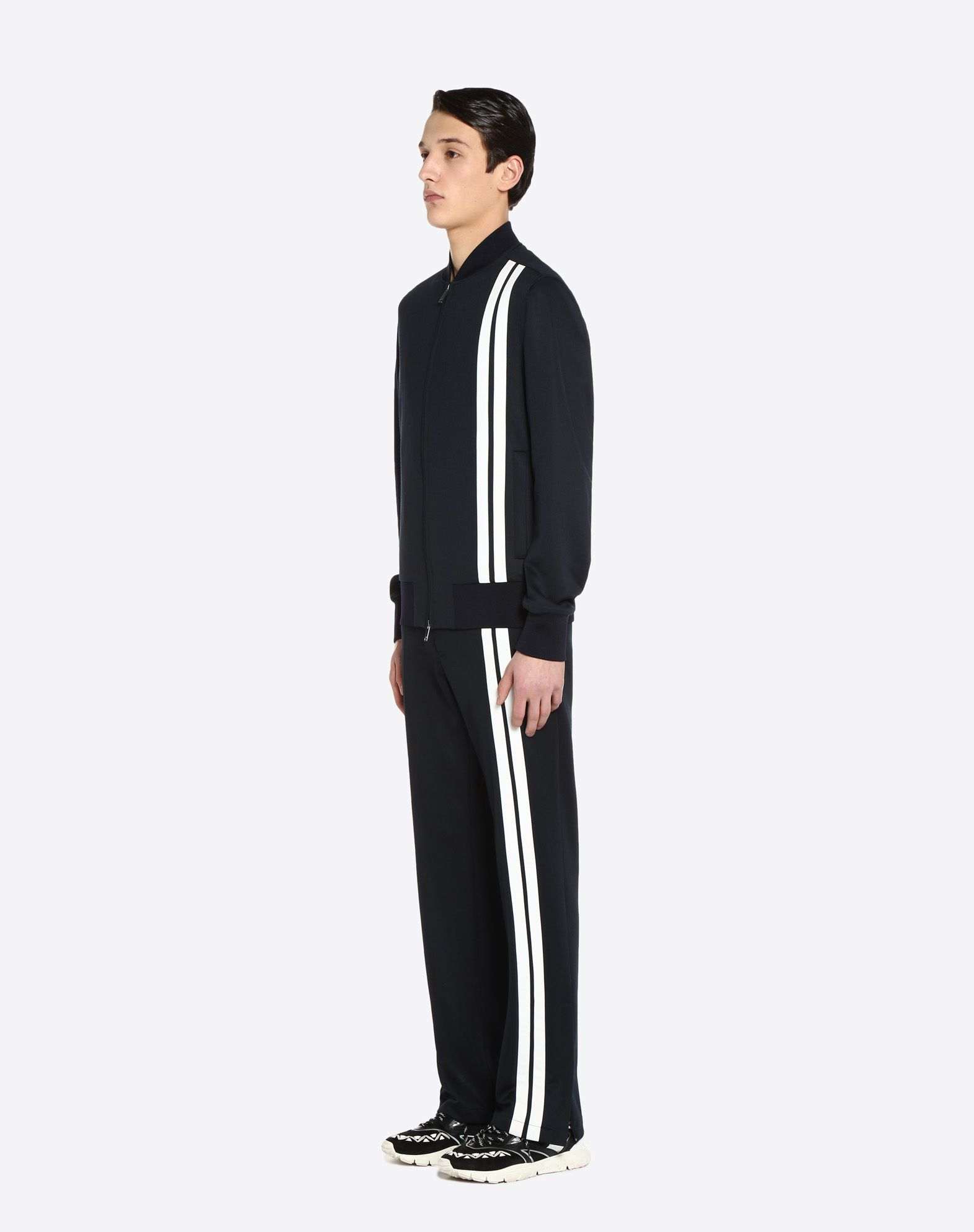 VALENTINO Vertical stripe inlays sweatshirt with VLTN logo JACKET U d