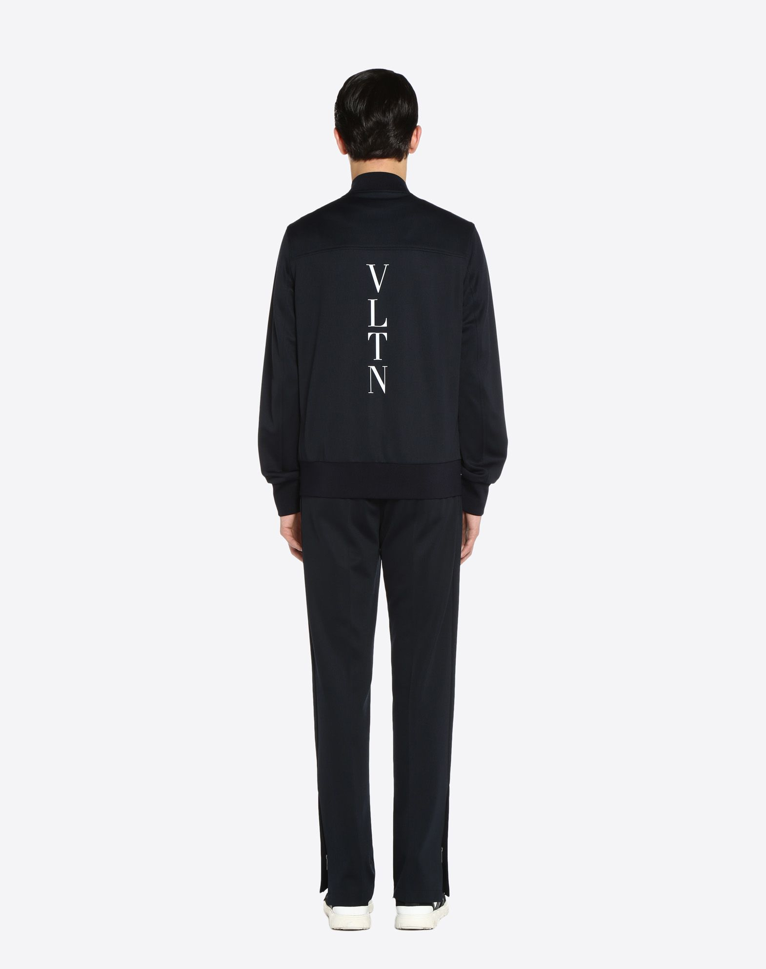 VALENTINO Vertical stripe inlays sweatshirt with VLTN logo JACKET U e