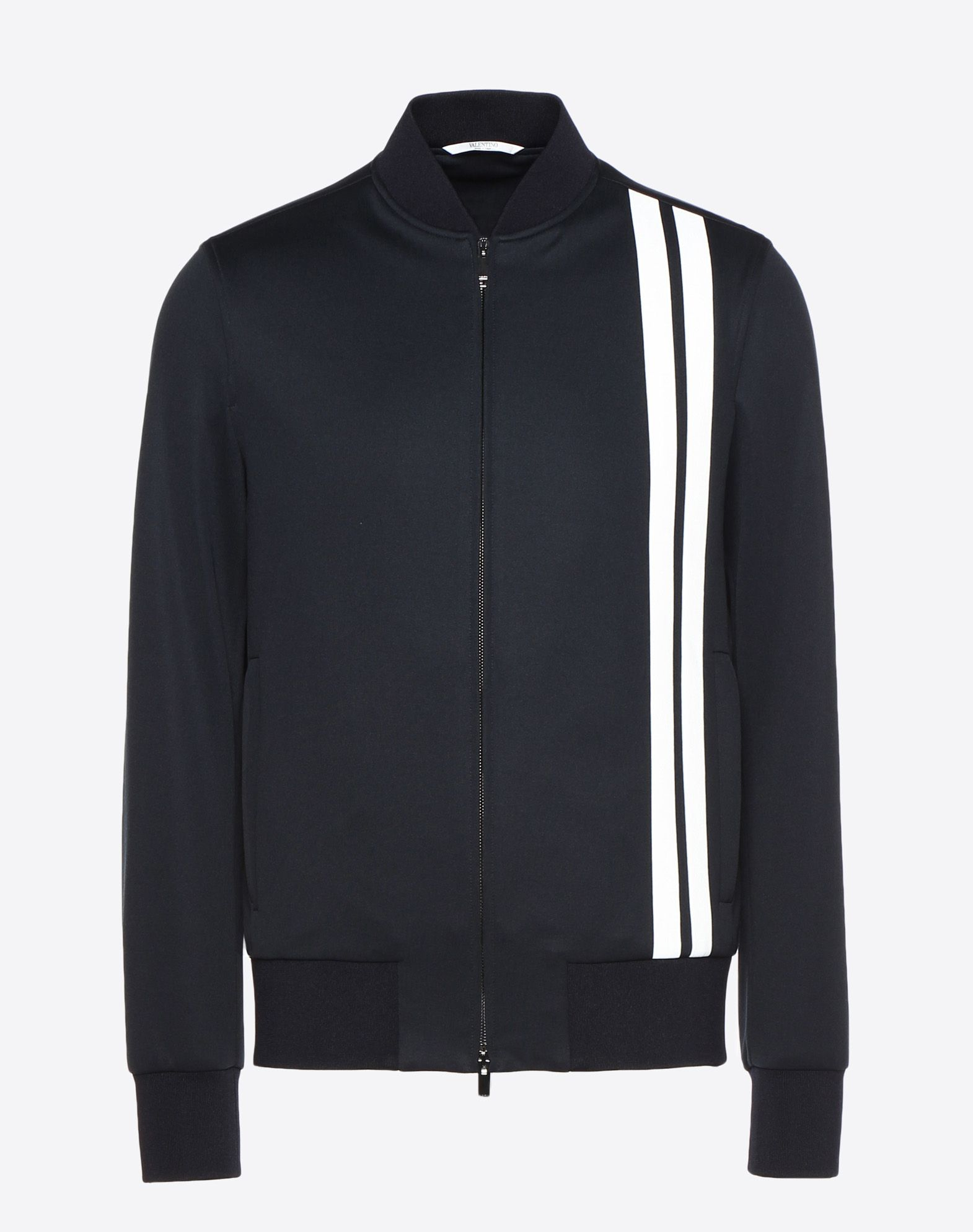 VALENTINO Vertical stripe inlays sweatshirt with VLTN logo JACKET U f
