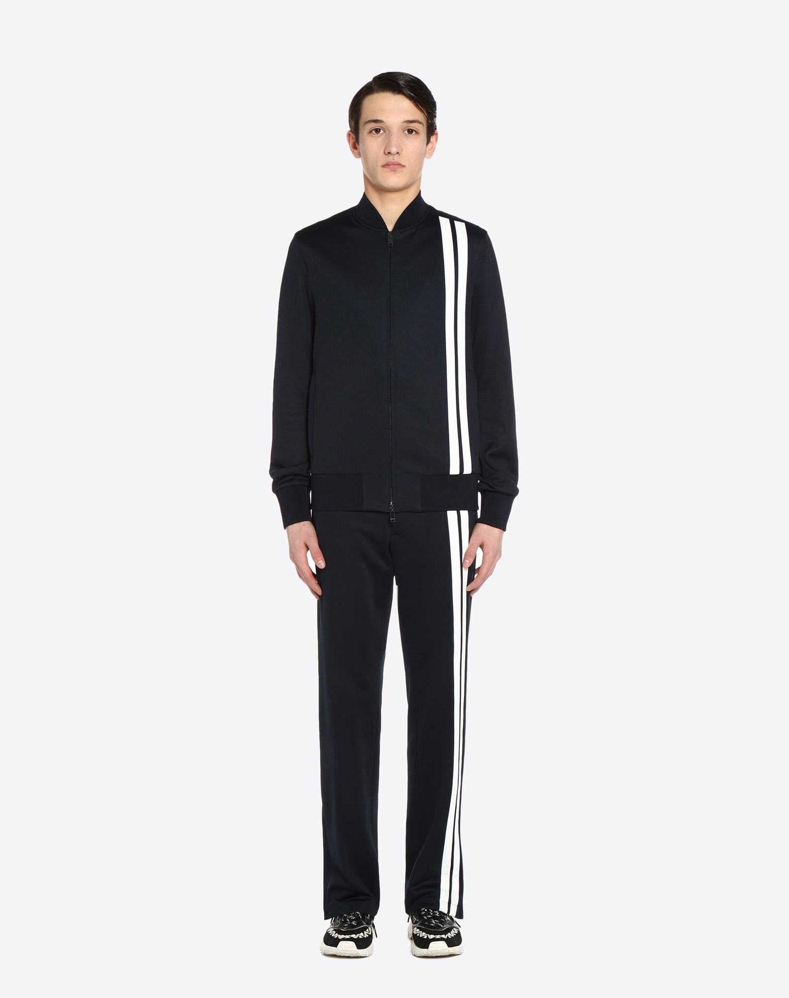 VALENTINO Vertical stripe inlays sweatshirt with VLTN logo JACKET U r
