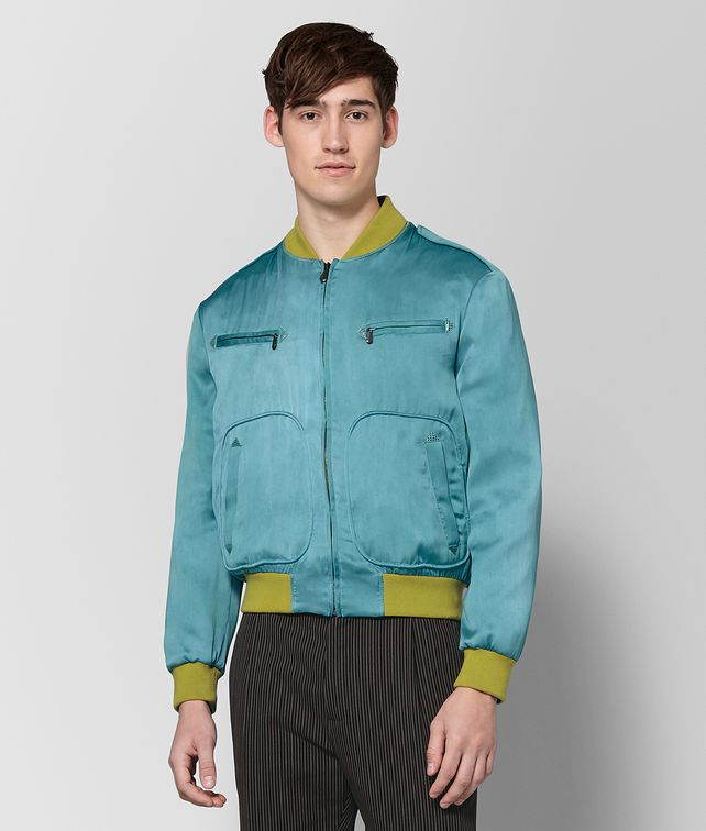 BOTTEGA VENETA LIGHT AQUA SILK JACKET Outerwear and Jacket Man fp