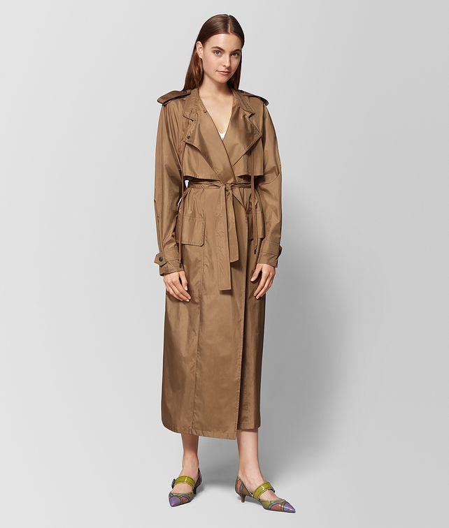 BOTTEGA VENETA CAMEL SILK COAT Outerwear and Jacket Woman fp