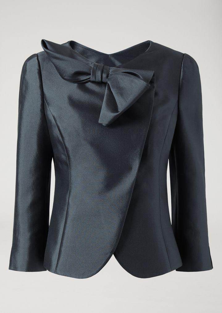1546e0d2c8 Veste en satin de coton et soie | Femme | Emporio Armani