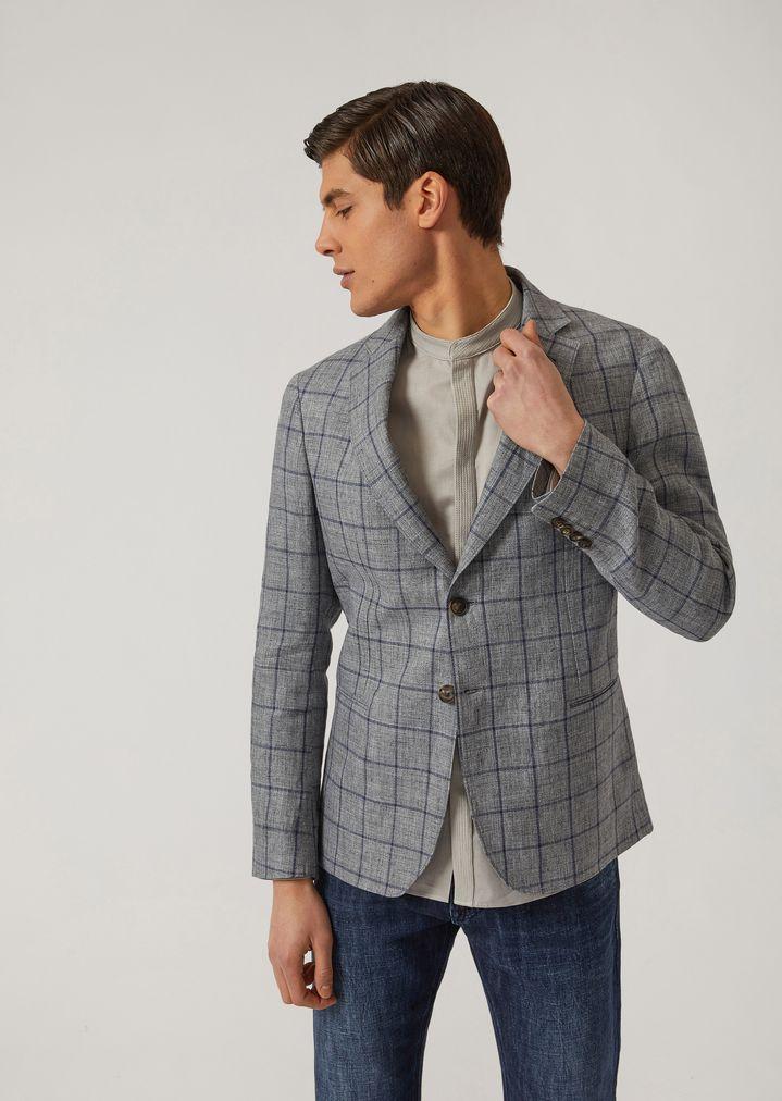 34ac3ff868 Half-lined jacket in checked linen | Man | Emporio Armani