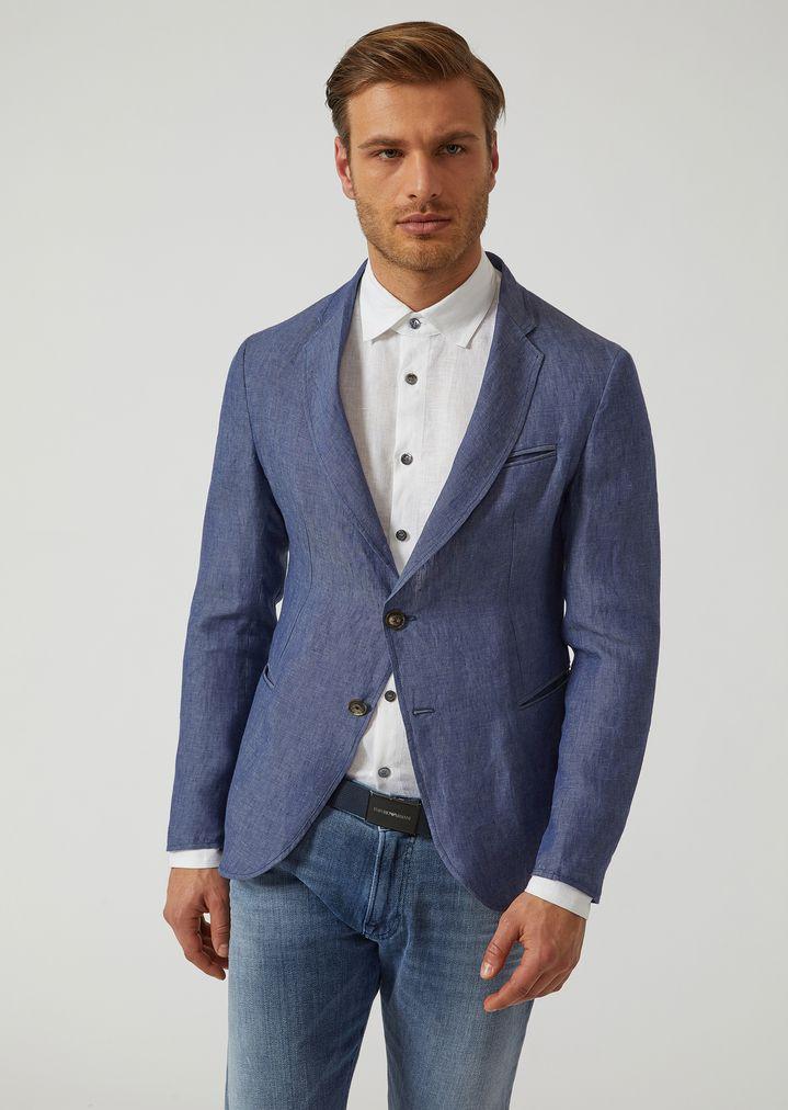 c8f948661d Unlined pure linen jacket   Man   Emporio Armani