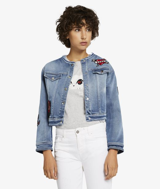 KARL LAGERFELD Captain Karl Patch Denim Jacket 12_f