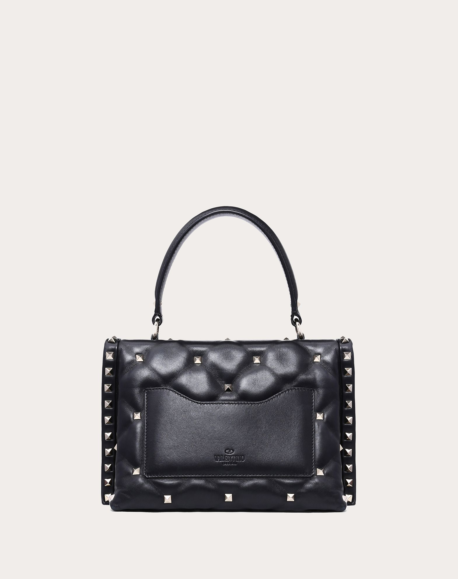 VALENTINO Studs Logo Framed closure External pocket Internal pocket Removable shoulder strap  41785905qi