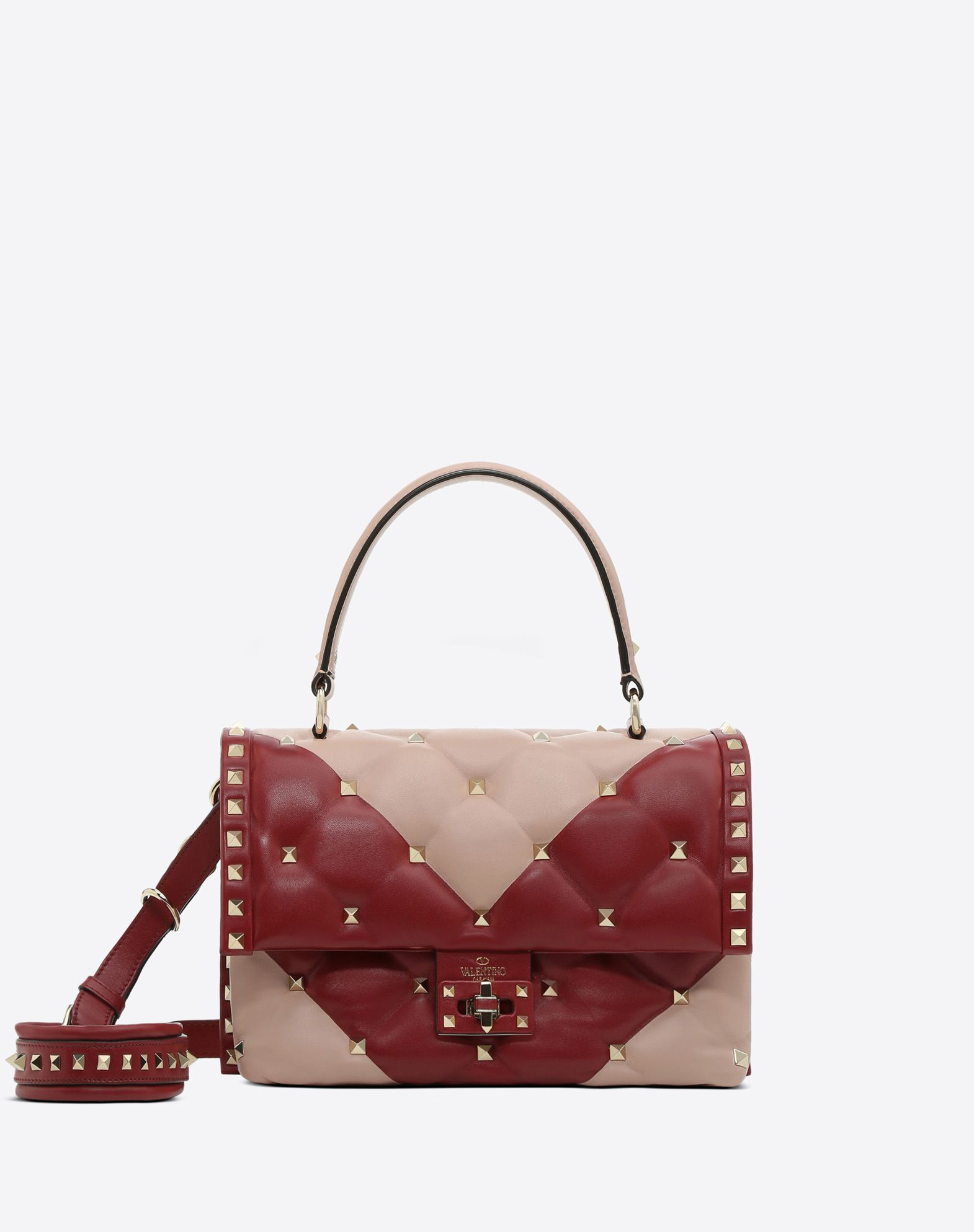 VALENTINO Studs Logo Two-tone Framed closure Internal pockets External pocket  41785907nm