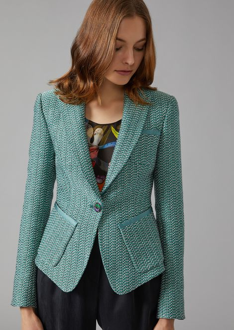 Knit jacket with Ottoman detailing