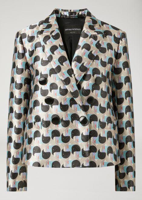 Double-Breasted Geometric Jacquard Print Jacket