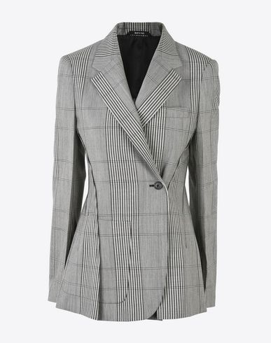 MAISON MARGIELA Asymmetric check cotton-blend blazer. This piece closes via a side hook-and-eye and features two front flaps. Jacket measures 74cm in length. Blazer D f