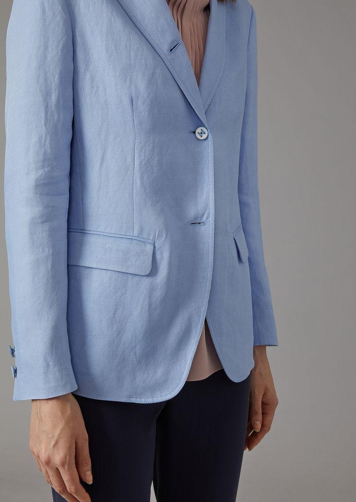 GIORGIO ARMANI Single-breasted linen blend jacket Jacket Woman b