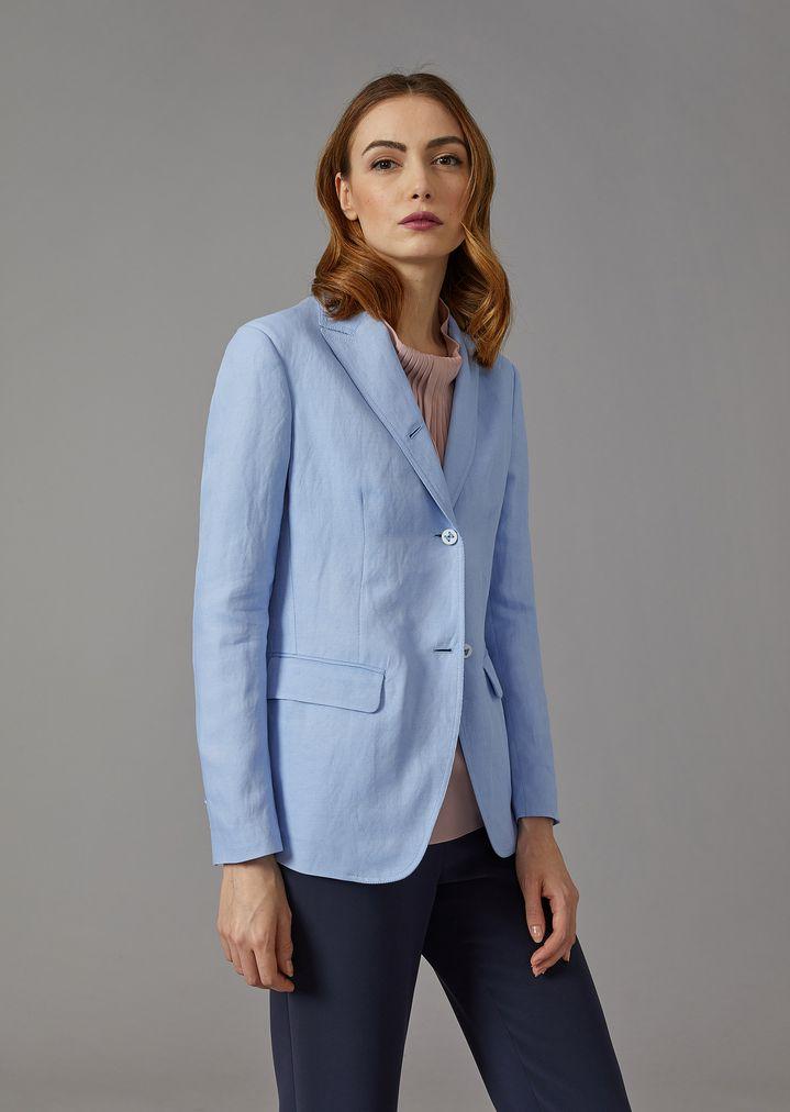 GIORGIO ARMANI Single-breasted linen blend jacket Jacket Woman f