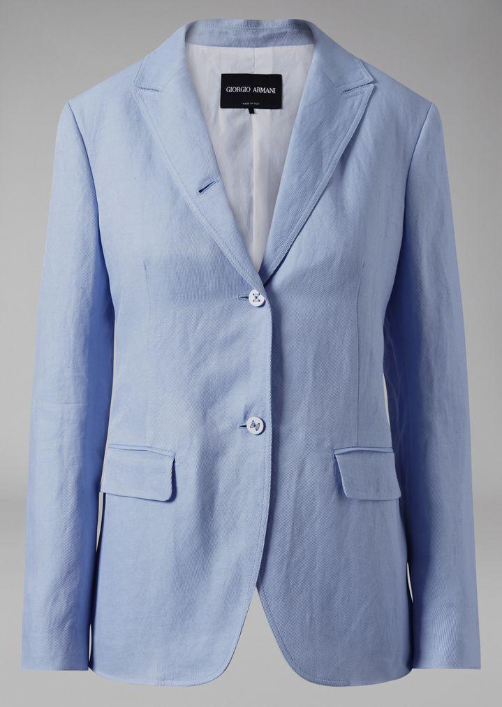 GIORGIO ARMANI Single-breasted linen blend jacket Jacket Woman r