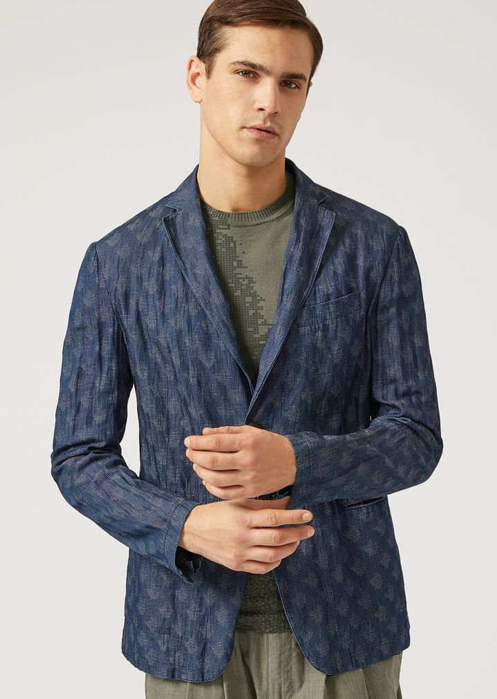 402ee0094c Single-breasted jacket in washed fabric | Man | Emporio Armani