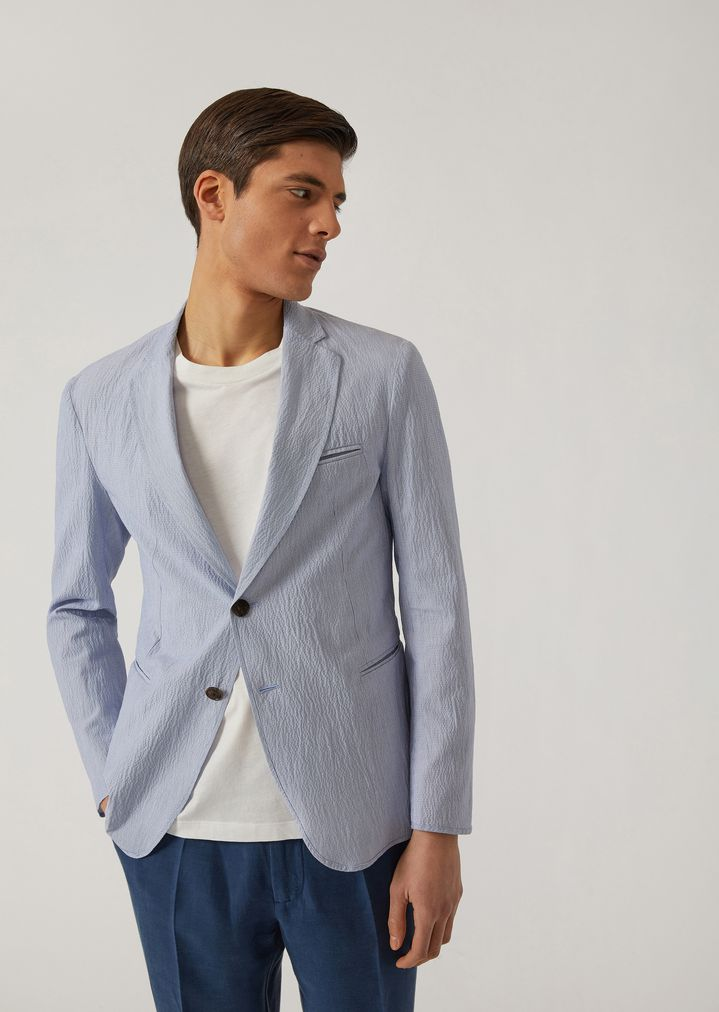 b3c7ca0d68 Single-breasted linen and seersucker blend jacket | Man | Emporio Armani